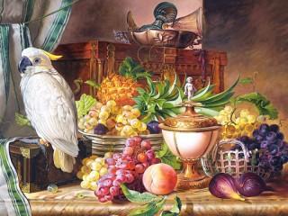 Собирать пазл Какаду и фрукты онлайн