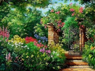 Собирать пазл Калитка и сад онлайн