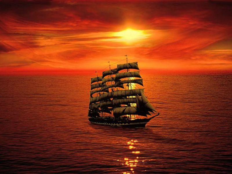 Пазл Собирать пазлы онлайн - Корабль на закате