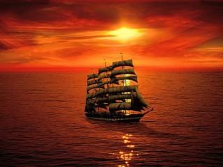 Собирать пазл Корабль на закате онлайн
