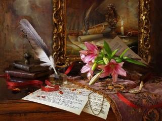 Собирать пазл Картина и лилии онлайн