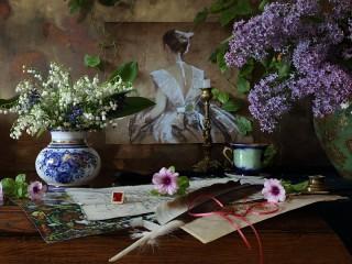 Собирать пазл Картина и цветы онлайн