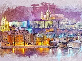 Собирать пазл Картина Праги онлайн