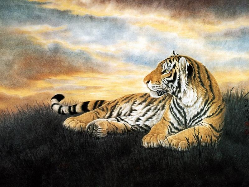 Пазл Собирать пазлы онлайн - Картина с тигром