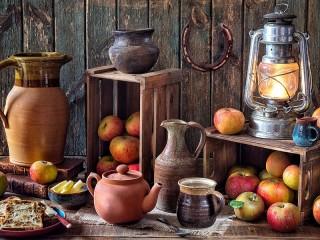 Собирать пазл Керамика и яблоки онлайн