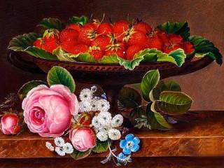 Собирать пазл Клубника и цветы онлайн