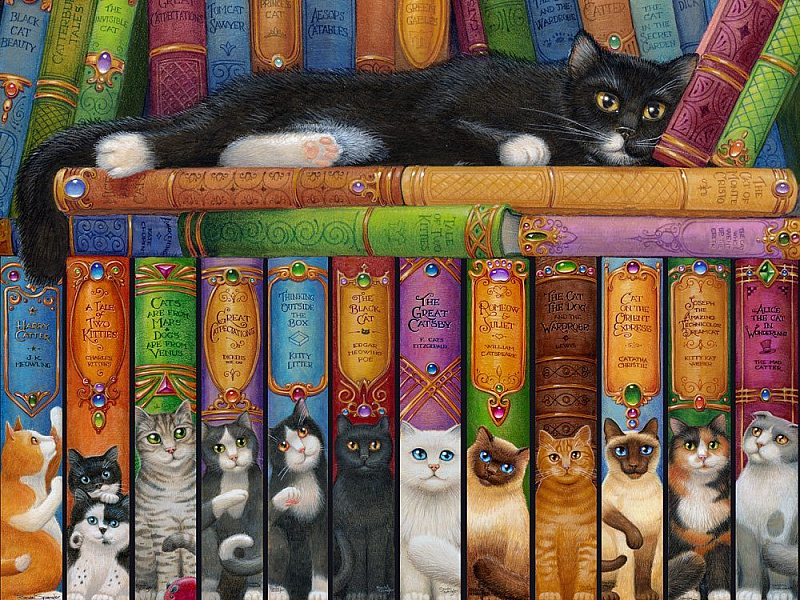 Пазл Собирать пазлы онлайн - Книжная полка кошки