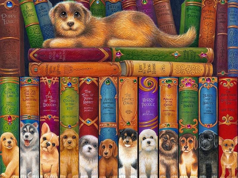 Пазл Собирать пазлы онлайн - Книжная полка собаки
