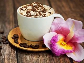 Собирать пазл Кофе и орхидея онлайн