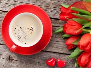 Собирать пазл Кофе и цветы онлайн