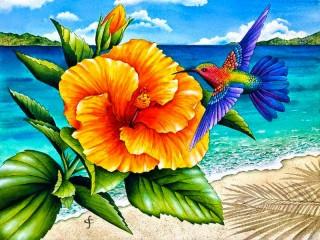 Собирать пазл Колибри и цветок онлайн