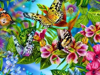 Собирать пазл Коллаж Бабочки онлайн