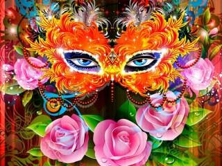 Собирать пазл Коллаж маска онлайн
