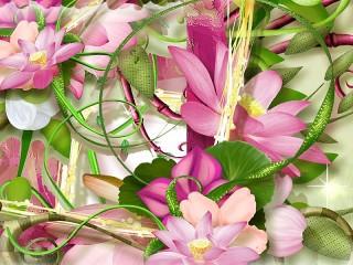 Собирать пазл Коллаж цветов онлайн