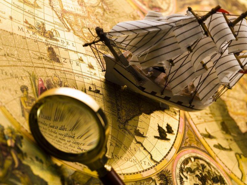 Пазл Собирать пазлы онлайн - Корабль и карта