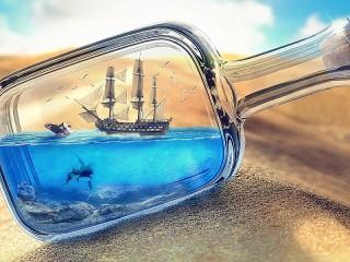Собирать пазл Корабль и пустыня онлайн
