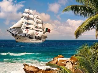 Собирать пазл Корабль плывёт онлайн