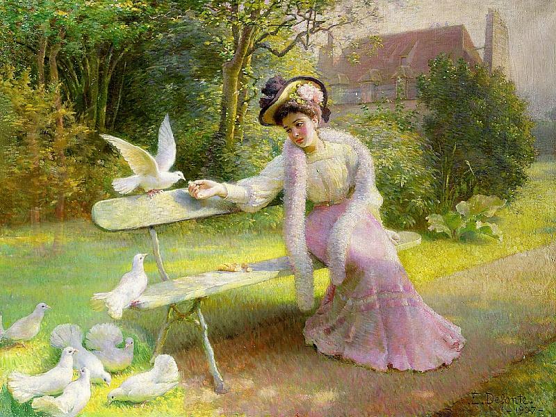 Пазл Собирать пазлы онлайн - Кормление голубей