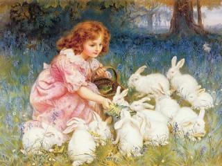 Собирать пазл Кормление кроликов онлайн