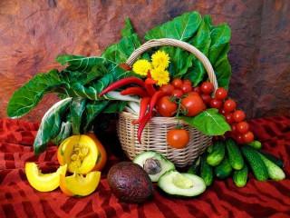 Собирать пазл Корзина с овощами онлайн