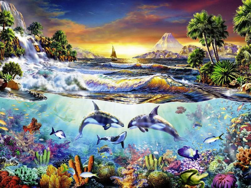 Пазл Собирать пазлы онлайн - Косатки под водой