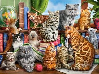 Собирать пазл Кошачий клуб онлайн
