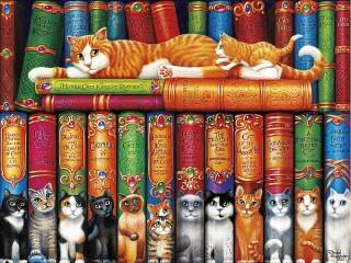Собирать пазл Кошачья библиотека онлайн