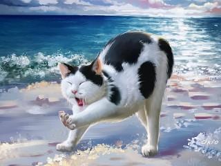 Собирать пазл Кошачья йога онлайн