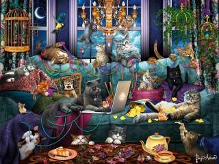 Собирать пазл Кошачья вечеринка онлайн