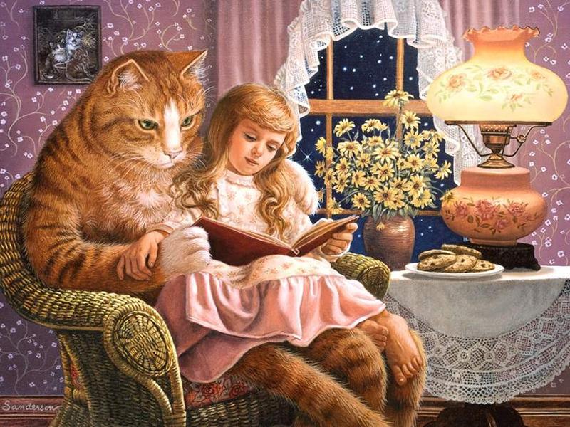 Пазл Собирать пазлы онлайн - Кошка и девочка