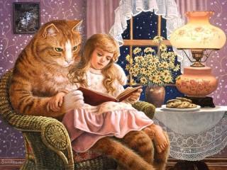 Собирать пазл Кошка и девочка онлайн