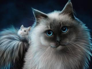 Собирать пазл Кошка и мышка онлайн