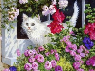 Собирать пазл Кошка и цветы онлайн
