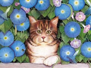 Собирать пазл Кошка и вьюн онлайн