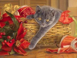 Собирать пазл Кошка в корзине онлайн