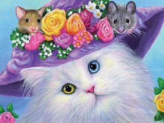 Собирать пазл Кошка в шляпке онлайн