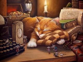 Собирать пазл Кошки мышки онлайн