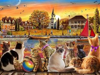 Собирать пазл Кошки на берегу онлайн