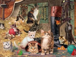 Собирать пазл Кошки на конюшне онлайн