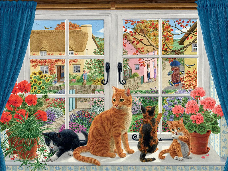 Пазл Собирать пазлы онлайн - Кошки на окошке