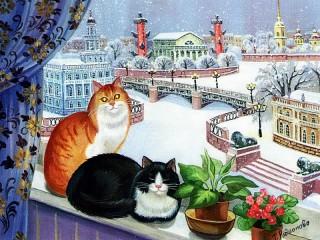 Собирать пазл Кошки на окошке онлайн