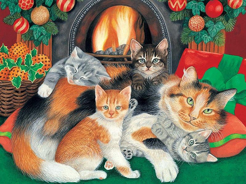 Пазл Собирать пазлы онлайн - Кошки у камина