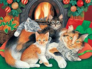Собирать пазл Кошки у камина онлайн