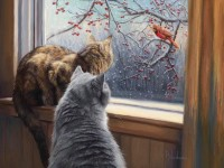 Собирать пазл Кошки у окна онлайн