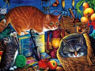 Собирать пазл Кошки в кладовке онлайн