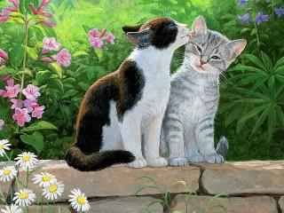 Собирать пазл Кошки в саду онлайн