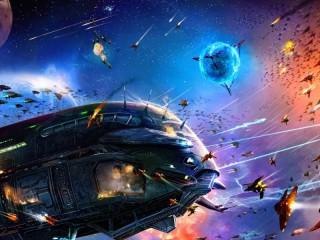Собирать пазл Космический бой онлайн