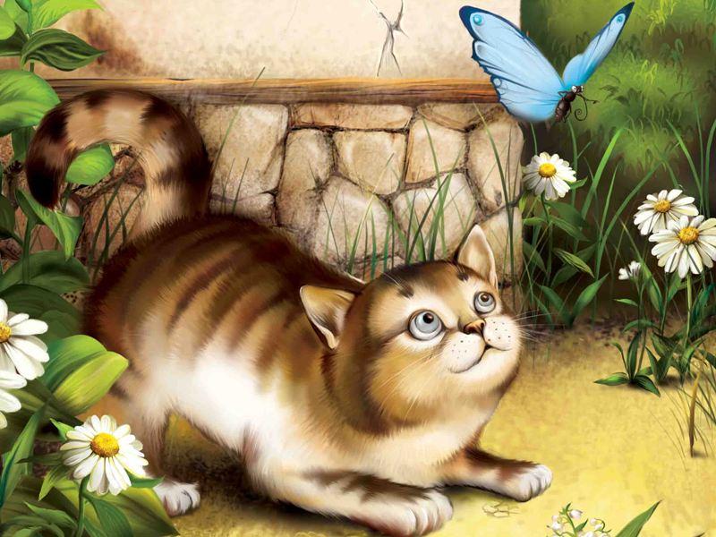 Пазл Собирать пазлы онлайн - Кот и бабочка