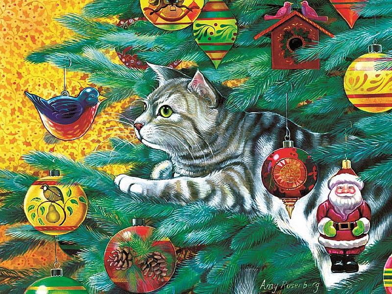 Пазл Собирать пазлы онлайн - Кот и елочные игрушки