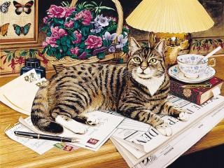 Собирать пазл Кот и газета онлайн